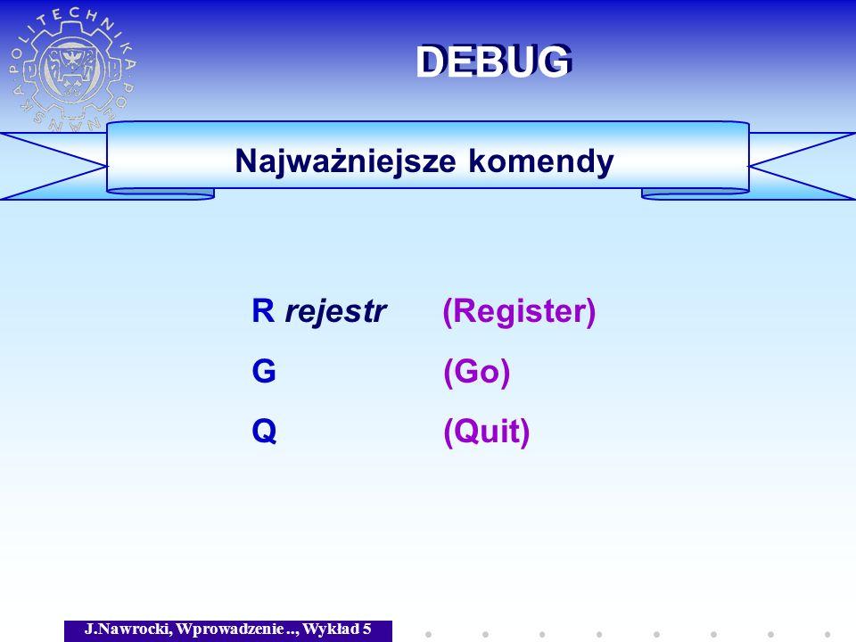 J.Nawrocki, Wprowadzenie.., Wykład 5 DEBUG Najważniejsze komendy R rejestr (Register) G (Go) Q (Quit)