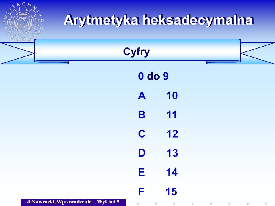 J.Nawrocki, Wprowadzenie.., Wykład 5 Arytmetyka heksadecymalna Cyfry 0 do 9 A 10 B 11 C 12 D 13 E 14 F 15