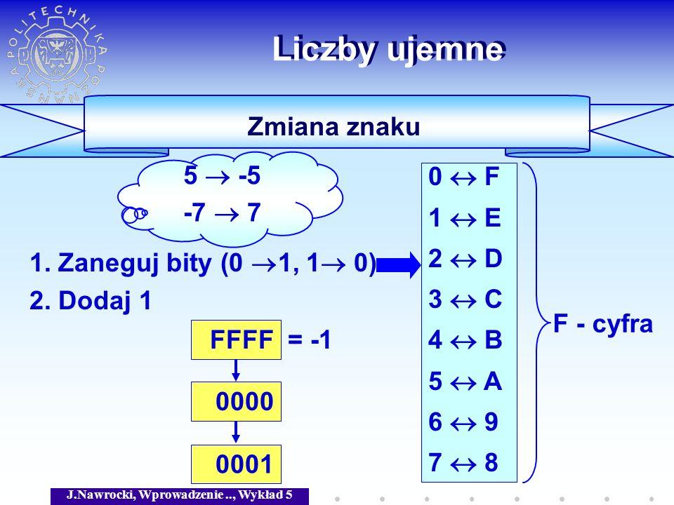 J.Nawrocki, Wprowadzenie.., Wykład 5 Zmiana znaku Liczby ujemne 1. Zaneguj bity (0 1, 1 0) 2. Dodaj 1 0 F 1 E 2 D 3 C 4 B 5 A 6 9 7 8 FFFF = -1 0000 0