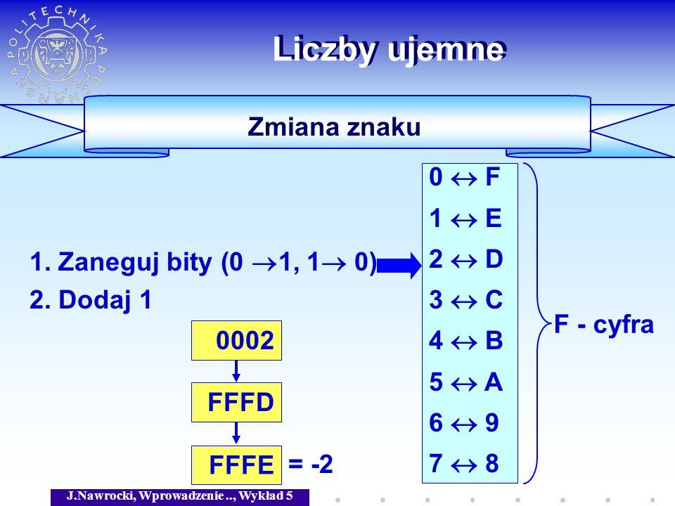 J.Nawrocki, Wprowadzenie.., Wykład 5 Zmiana znaku Liczby ujemne 1. Zaneguj bity (0 1, 1 0) 2. Dodaj 1 0 F 1 E 2 D 3 C 4 B 5 A 6 9 7 8 0002 = -2 FFFD F