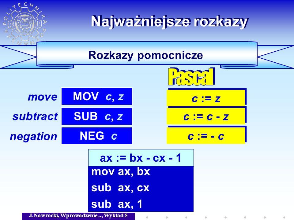 J.Nawrocki, Wprowadzenie.., Wykład 5 Rozkazy pomocnicze Najważniejsze rozkazy c := z MOV c, z SUB c, z c := c - z NEG c c := - c ax := bx - cx - 1 mov