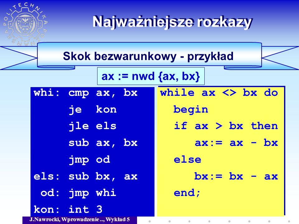 J.Nawrocki, Wprowadzenie.., Wykład 5 Skok bezwarunkowy - przykład Najważniejsze rozkazy ax := nwd {ax, bx} whi: cmp ax, bx je kon jle els sub ax, bx j