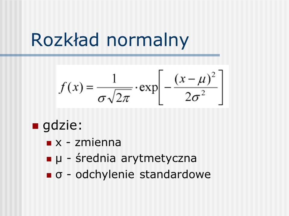 Rozkład normalny gdzie: x - zmienna µ - średnia arytmetyczna σ - odchylenie standardowe