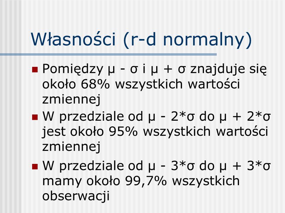 Własności (r-d normalny) Pomiędzy µ - σ i µ + σ znajduje się około 68% wszystkich wartości zmiennej W przedziale od μ - 2*σ do μ + 2*σ jest około 95% wszystkich wartości zmiennej W przedziale od μ - 3*σ do μ + 3*σ mamy około 99,7% wszystkich obserwacji