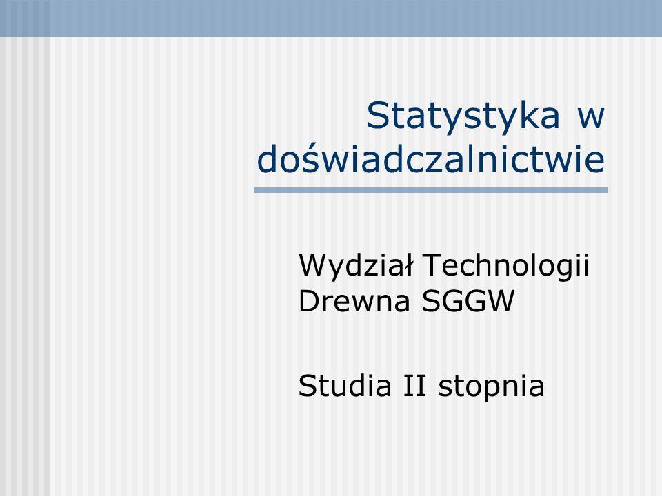 Statystyka w doświadczalnictwie Wydział Technologii Drewna SGGW Studia II stopnia