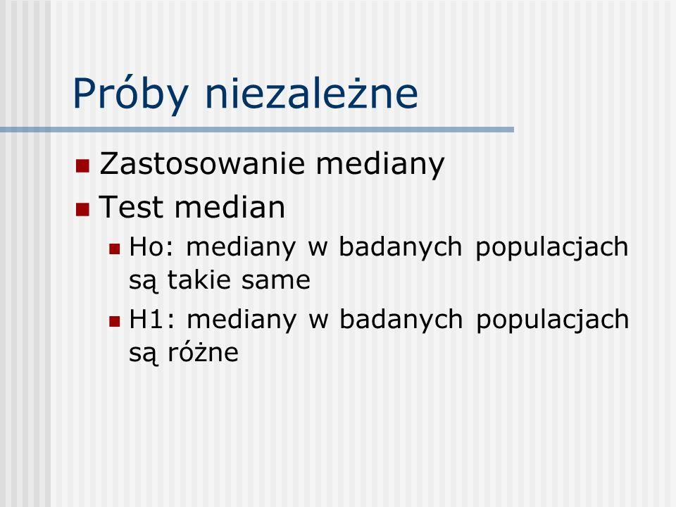Próby niezależne Zastosowanie mediany Test median Ho: mediany w badanych populacjach są takie same H1: mediany w badanych populacjach są różne