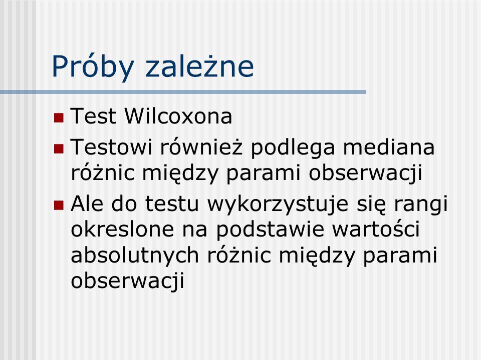 Próby zależne Test Wilcoxona Testowi również podlega mediana różnic między parami obserwacji Ale do testu wykorzystuje się rangi okreslone na podstawie wartości absolutnych różnic między parami obserwacji