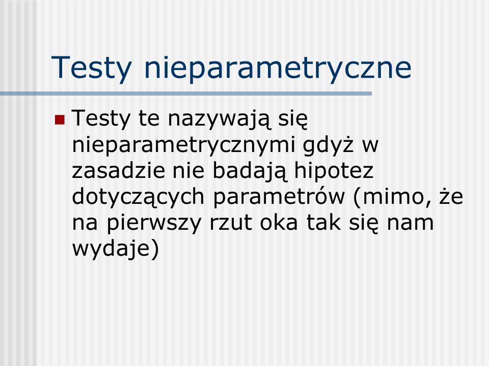 Testy nieparametryczne Testy te nazywają się nieparametrycznymi gdyż w zasadzie nie badają hipotez dotyczących parametrów (mimo, że na pierwszy rzut oka tak się nam wydaje)