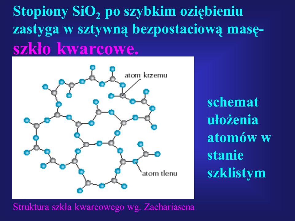 schemat ułożenia atomów w stanie szklistym Stopiony SiO 2 po szybkim oziębieniu zastyga w sztywną bezpostaciową masę- szkło kwarcowe. Struktura szkła