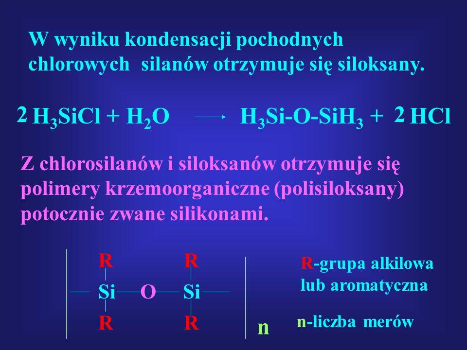 W wyniku kondensacji pochodnych chlorowych silanów otrzymuje się siloksany. H 3 SiCl + H 2 O H 3 Si-O-SiH 3 + HCl 22 Z chlorosilanów i siloksanów otrz