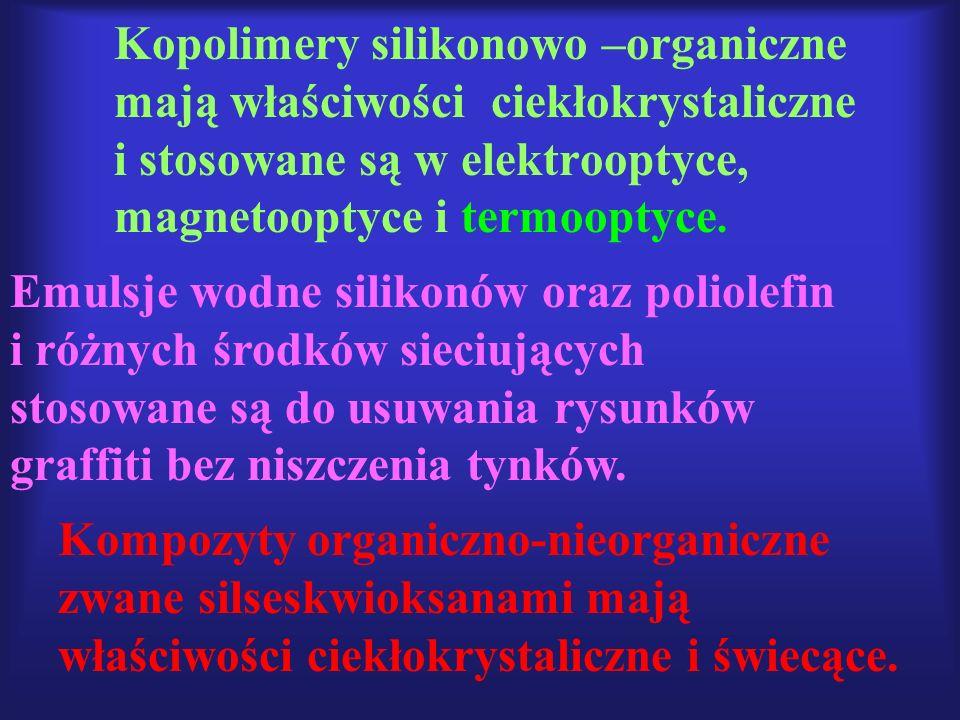 Kopolimery silikonowo –organiczne mają właściwości ciekłokrystaliczne i stosowane są w elektrooptyce, magnetooptyce i termooptyce. Emulsje wodne silik