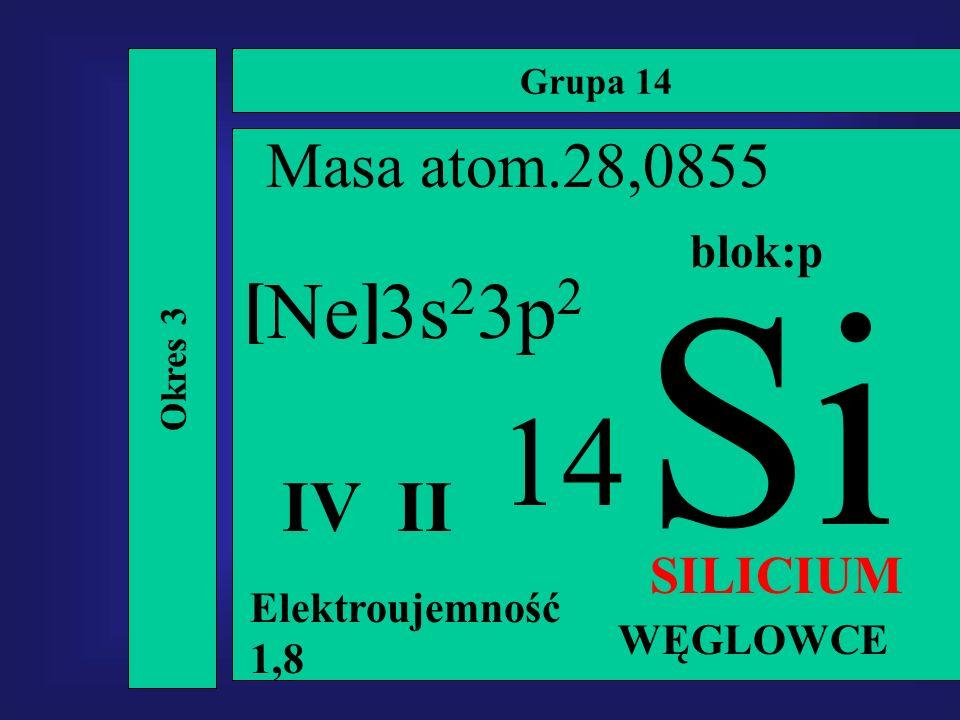 Grupa 14 Okres 3 Si 14 Masa atom.28,0855 IV II SILICIUM Elektroujemność 1,8 Ne 3s 2 3p 2 blok:p WĘGLOWCE []