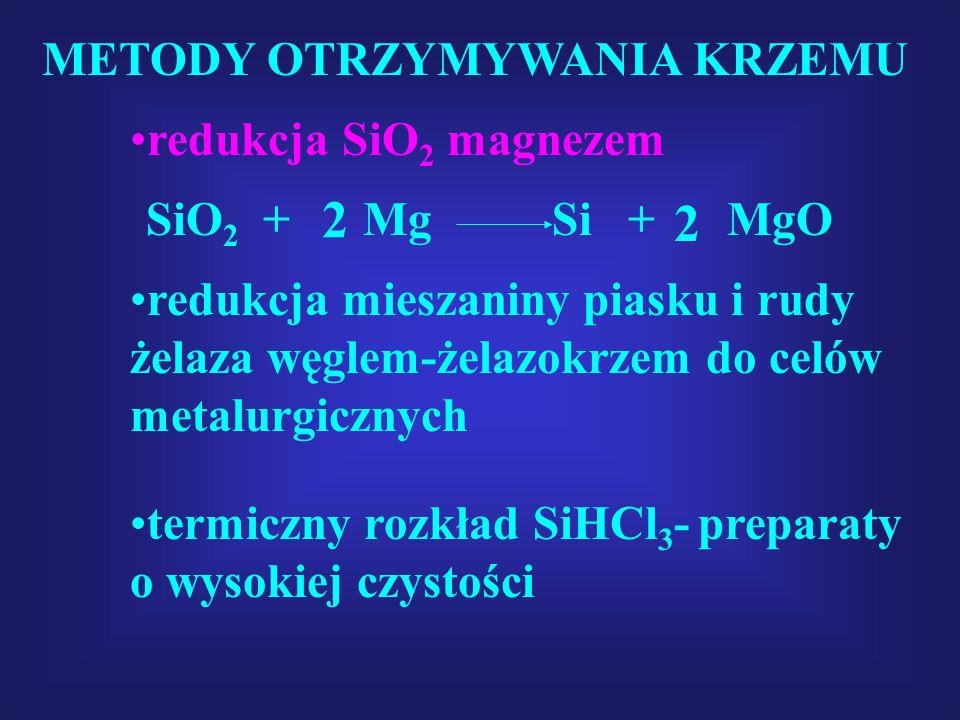 METODY OTRZYMYWANIA KRZEMU SiO 2 + Mg Si + MgO 2 2 redukcja SiO 2 magnezem redukcja mieszaniny piasku i rudy żelaza węglem-żelazokrzem do celów metalu