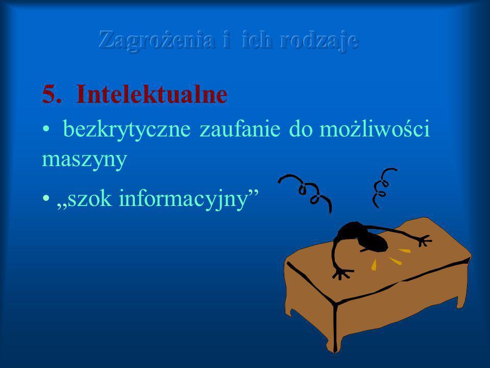 5. Intelektualne bezkrytyczne zaufanie do możliwości maszyny szok informacyjny