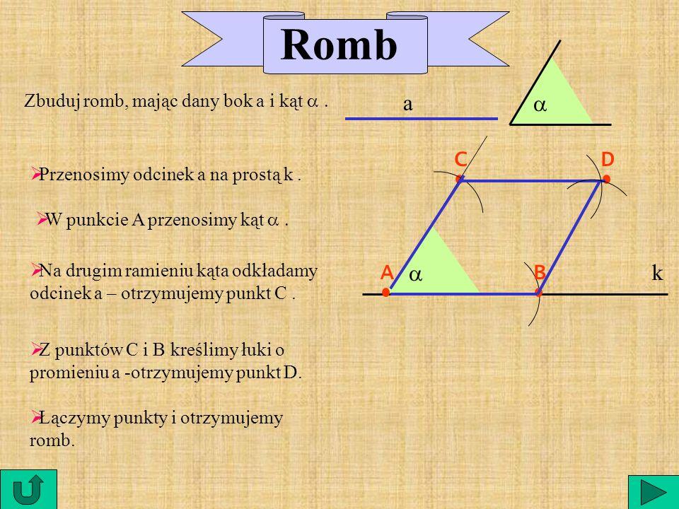 Przekątne prostokąta: są równej długości |AC| = |DB| dzielą się na połowę |AS| = |SC| |BS| = |SB| A C B D S jest to czworokąt, który ma wszystkie kąty