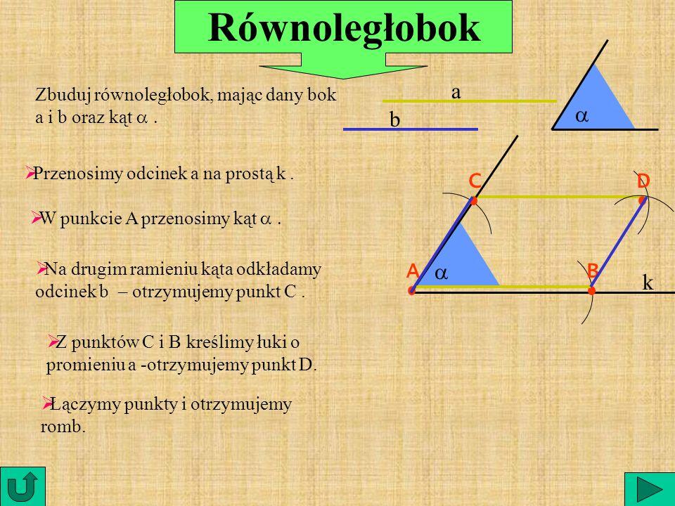 ROMBB C A D są prostopadłe są prostopadłe AC DB AC DB dzielą się na połowę dzielą się na połowę |AS| = |SC| |DS| = | SB| |DS| = | SB| S Przekątne romb