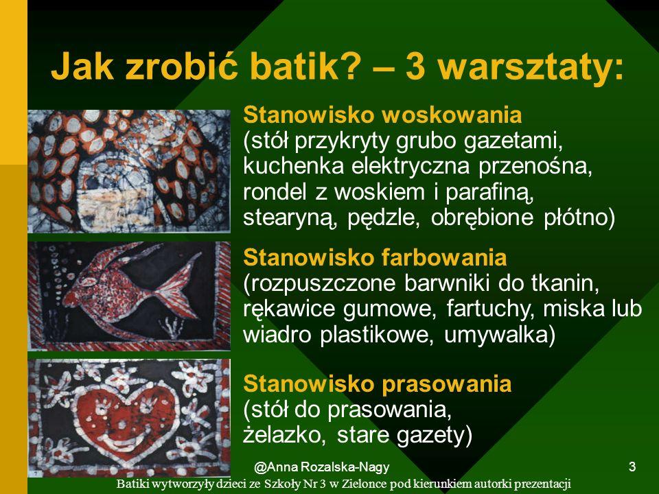 @Anna Rozalska-Nagy 3 Jak zrobić batik? – 3 warsztaty: Stanowisko farbowania (rozpuszczone barwniki do tkanin, rękawice gumowe, fartuchy, miska lub wi