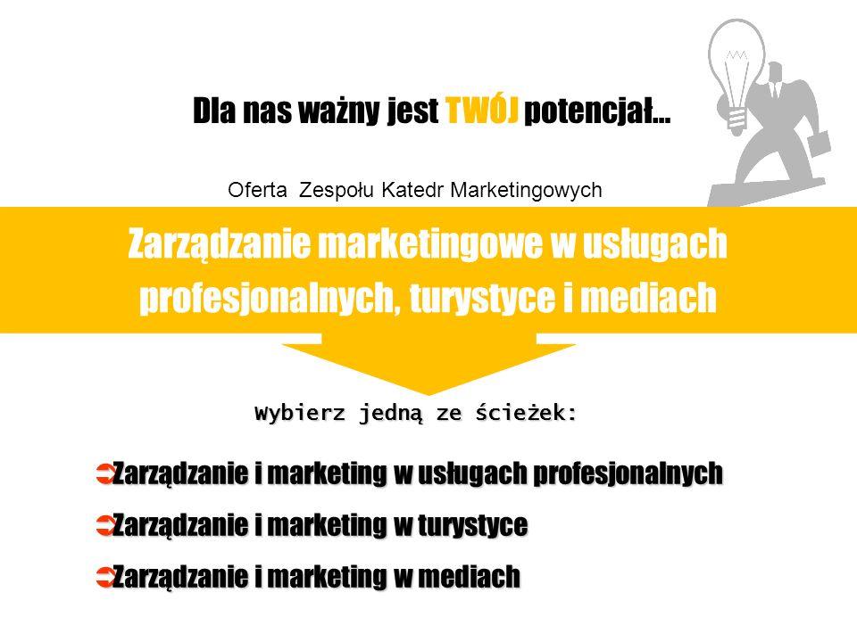 Zarządzanie marketingowe w usługach profesjonalnych, turystyce i mediach Zarządzanie i marketing w usługach profesjonalnych Zarządzanie i marketing w usługach profesjonalnych Zarządzanie i marketing w turystyce Zarządzanie i marketing w turystyce Zarządzanie i marketing w mediach Zarządzanie i marketing w mediach Dla nas ważny jest TWÓJ potencjał… Oferta Zespołu Katedr Marketingowych Wybierz jedną ze ścieżek: