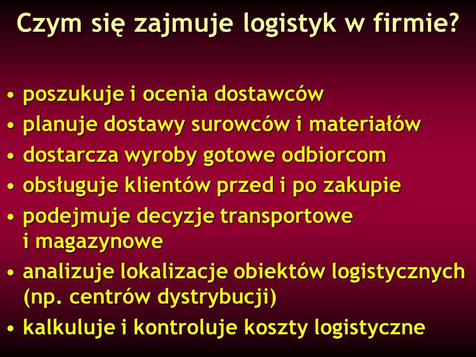 Czym się zajmuje logistyk w firmie? poszukuje i ocenia dostawcówposzukuje i ocenia dostawców planuje dostawy surowców i materiałówplanuje dostawy suro