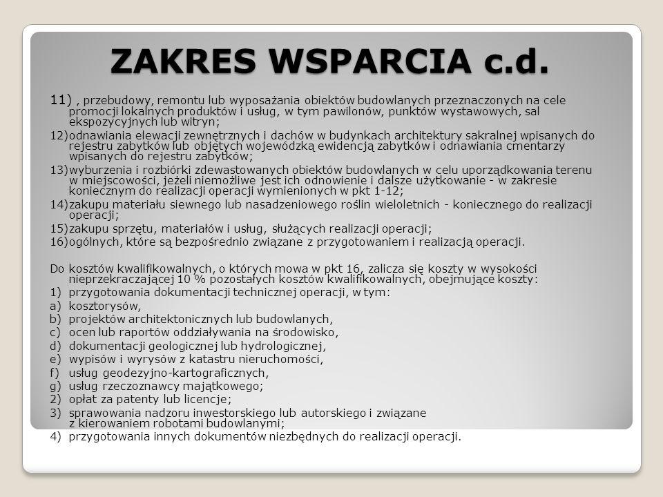 ZAKRES WSPARCIA c.d.