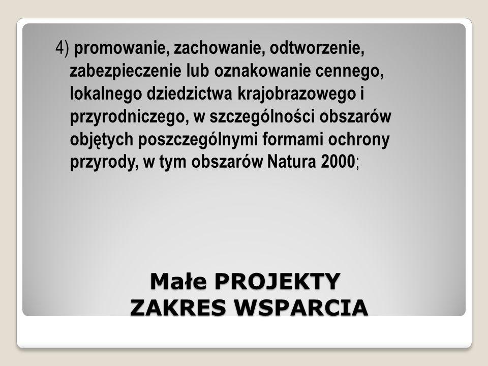 Małe PROJEKTY ZAKRES WSPARCIA 4) promowanie, zachowanie, odtworzenie, zabezpieczenie lub oznakowanie cennego, lokalnego dziedzictwa krajobrazowego i przyrodniczego, w szczególności obszarów objętych poszczególnymi formami ochrony przyrody, w tym obszarów Natura 2000 ;