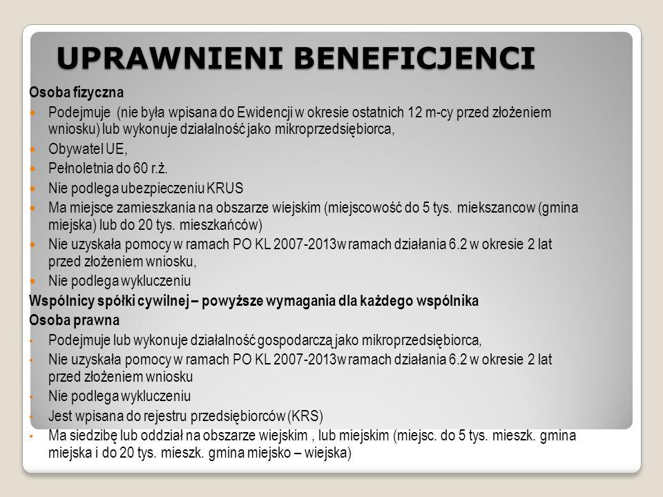 UPRAWNIENI BENEFICJENCI Osoba fizyczna Podejmuje (nie była wpisana do Ewidencji w okresie ostatnich 12 m-cy przed złożeniem wniosku) lub wykonuje działalność jako mikroprzedsiębiorca, Obywatel UE, Pełnoletnia do 60 r.ż.