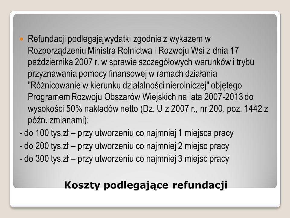 Koszty podlegające refundacji Refundacji podlegają wydatki zgodnie z wykazem w Rozporządzeniu Ministra Rolnictwa i Rozwoju Wsi z dnia 17 października 2007 r.