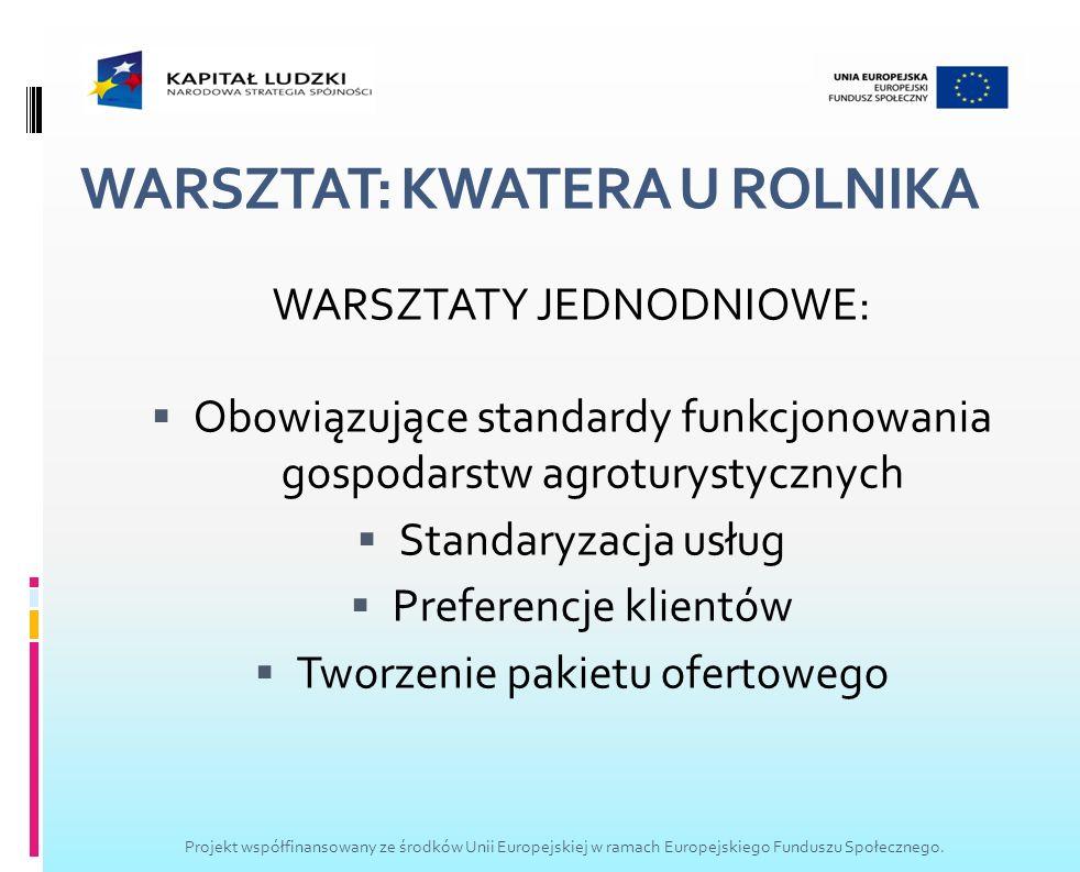 WARSZTAT: KWATERA U ROLNIKA WARSZTATY JEDNODNIOWE: Obowiązujące standardy funkcjonowania gospodarstw agroturystycznych Standaryzacja usług Preferencje