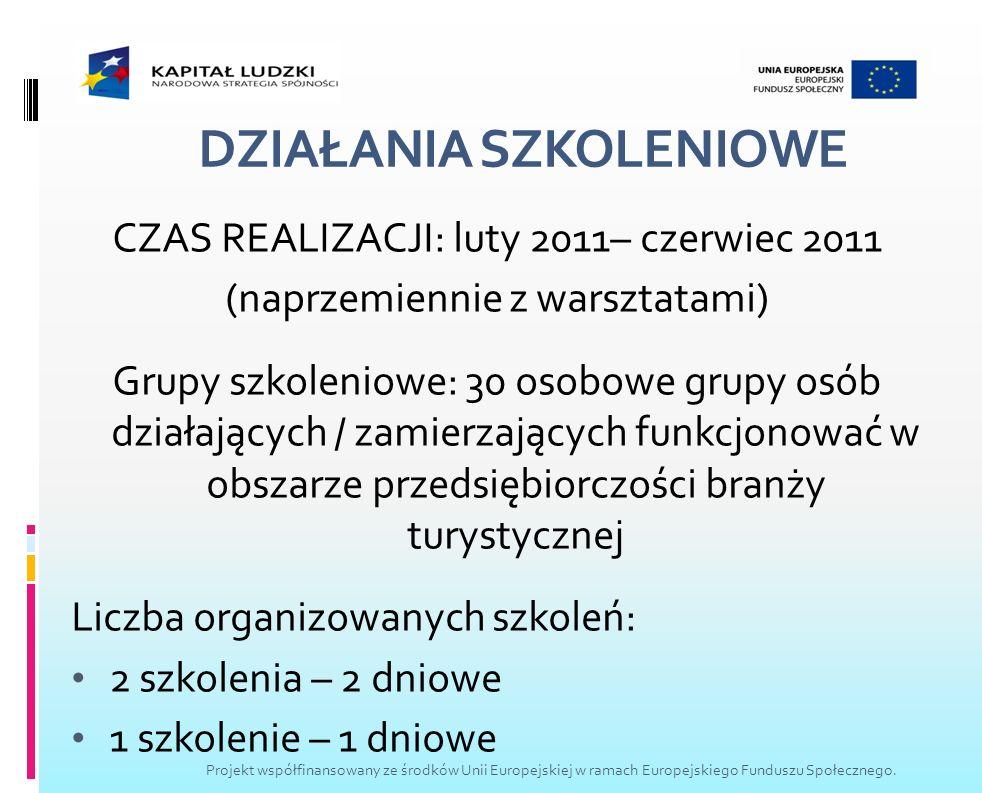 DZIAŁANIA SZKOLENIOWE CZAS REALIZACJI: luty 2011– czerwiec 2011 (naprzemiennie z warsztatami) Grupy szkoleniowe: 30 osobowe grupy osób działających /