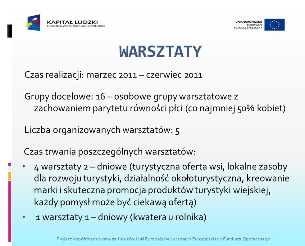 WARSZTATY Czas realizacji: marzec 2011 – czerwiec 2011 Grupy docelowe: 16 – osobowe grupy warsztatowe z zachowaniem parytetu równości płci (co najmnie