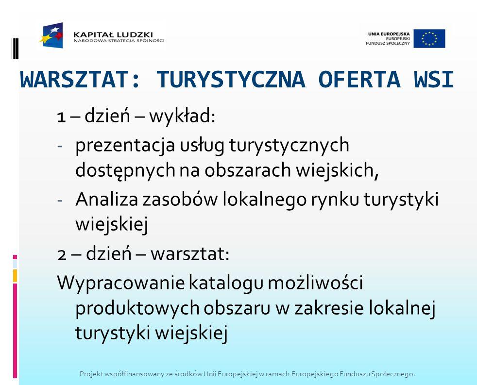 WARSZTAT: TURYSTYCZNA OFERTA WSI 1 – dzień – wykład: - prezentacja usług turystycznych dostępnych na obszarach wiejskich, - Analiza zasobów lokalnego