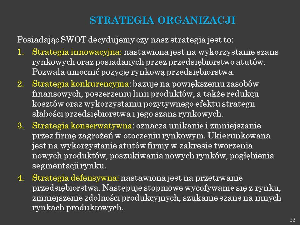 22 Posiadając SWOT decydujemy czy nasz strategia jest to: 1.Strategia innowacyjna: nastawiona jest na wykorzystanie szans rynkowych oraz posiadanych p