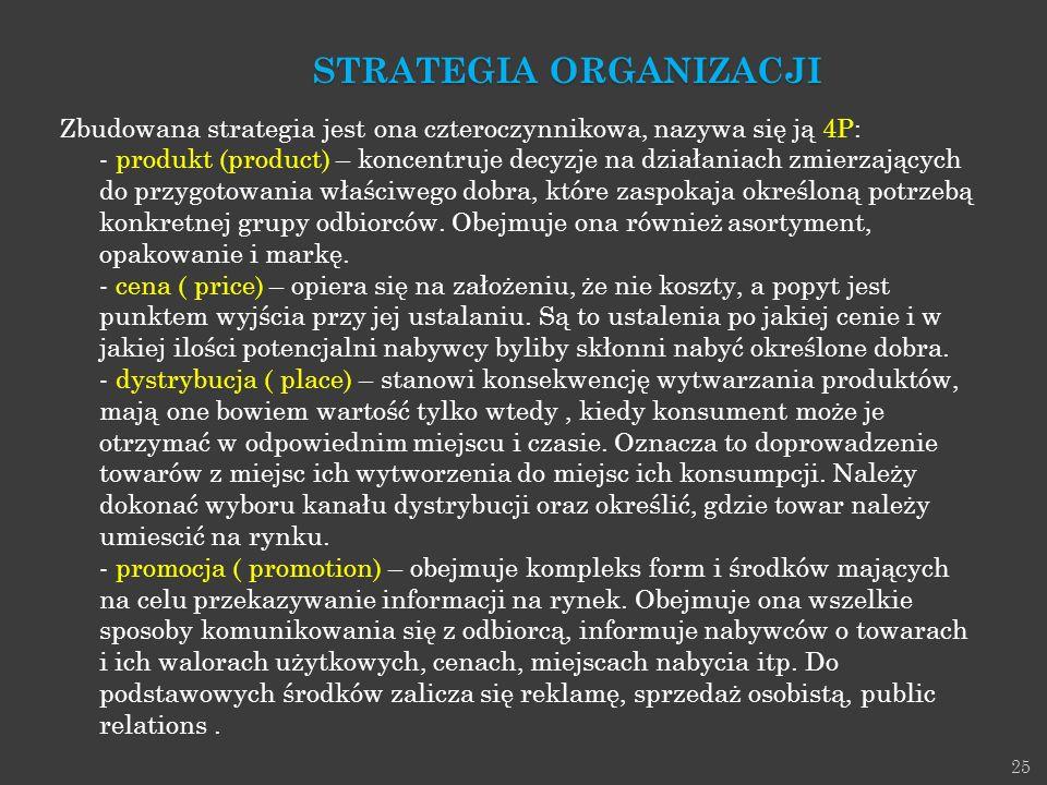 25 Zbudowana strategia jest ona czteroczynnikowa, nazywa się ją 4P: - produkt (product) – koncentruje decyzje na działaniach zmierzających do przygoto