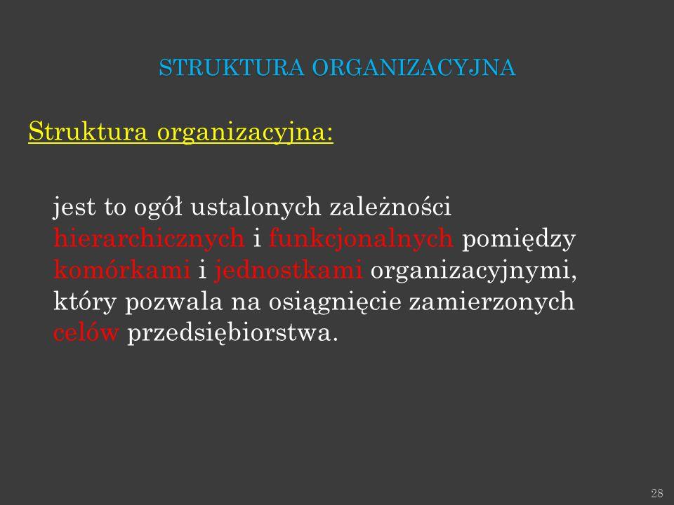 28 Struktura organizacyjna: jest to ogół ustalonych zależności hierarchicznych i funkcjonalnych pomiędzy komórkami i jednostkami organizacyjnymi, któr