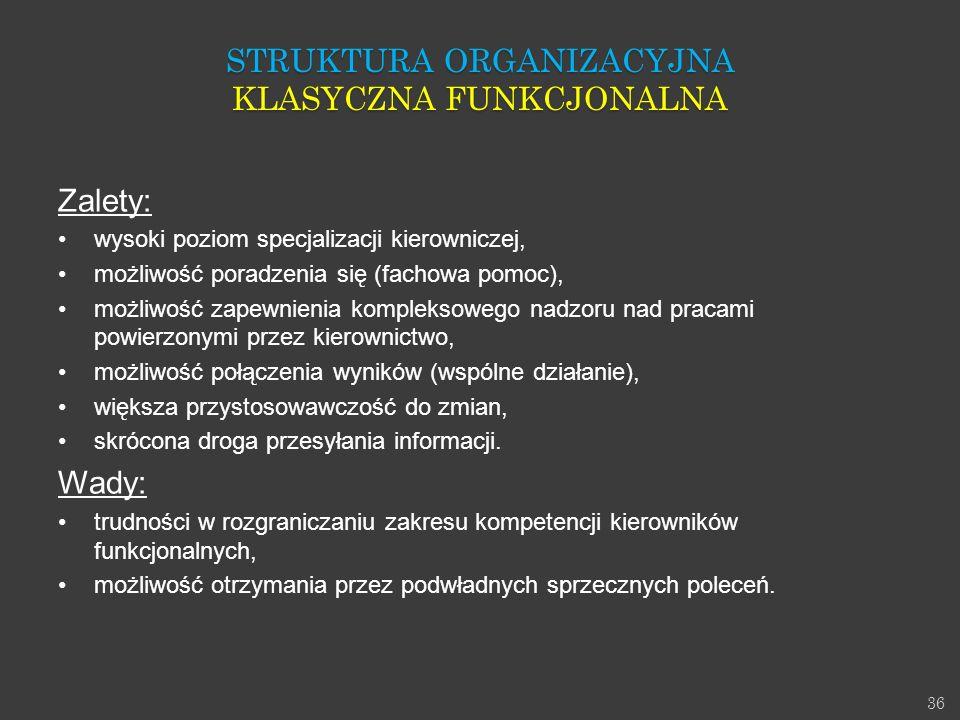 36 Zalety: wysoki poziom specjalizacji kierowniczej, możliwość poradzenia się (fachowa pomoc), możliwość zapewnienia kompleksowego nadzoru nad pracami
