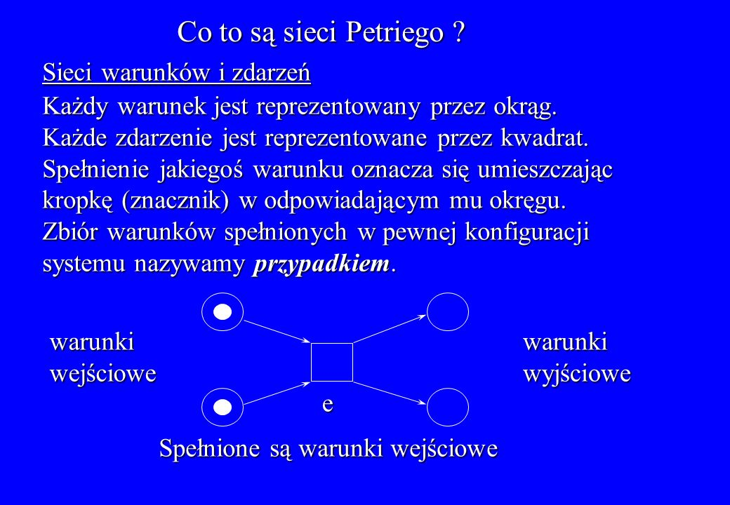 Przykład sieci miejsc i przejść: System złożony z producenta i dwóch konsumentów Producent przetwarza dane Bufor Konsument w S7 może pobrać dwa znaczniki Licznik t1t1t1t1 t2t2t2t2 s1s1s1s1 s2s2s2s2 K=1 K=1 s6 s6 s6 s6 s5s5s5s5 s3s3s3s3 s4s4s4s4 K= K= K=5 t4t4t4t4 t5t5t5t5 t3t3t3t3 s7s7s7s7 K=2 K=2 K=1 32