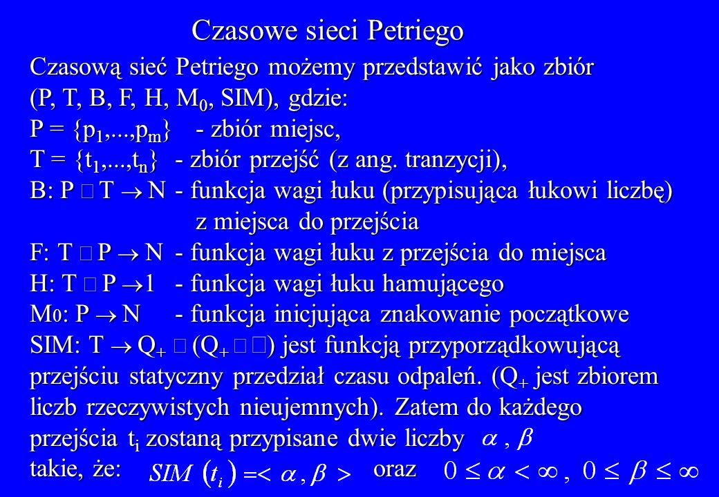 Czasowe sieci Petriego Czasową sieć Petriego możemy przedstawić jako zbiór (P, T, B, F, H, M 0, SIM), gdzie: P = {p 1,...,p m }- zbiór miejsc, T = {t
