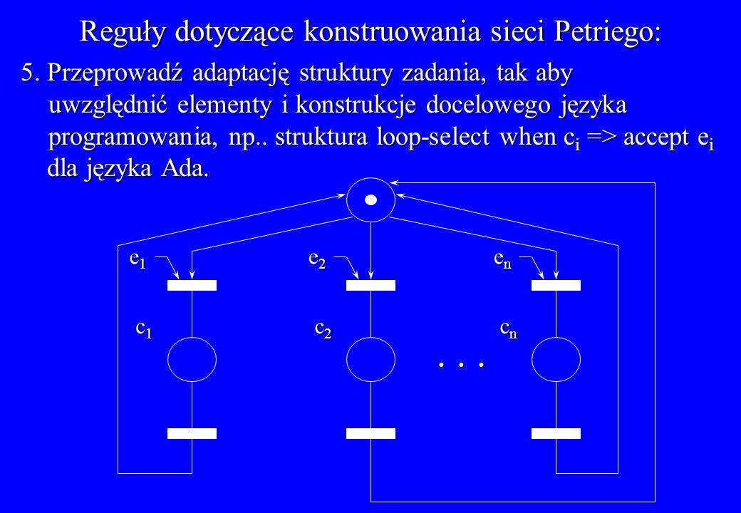 Reguły dotyczące konstruowania sieci Petriego: 5. Przeprowadź adaptację struktury zadania, tak aby uwzględnić elementy i konstrukcje docelowego języka