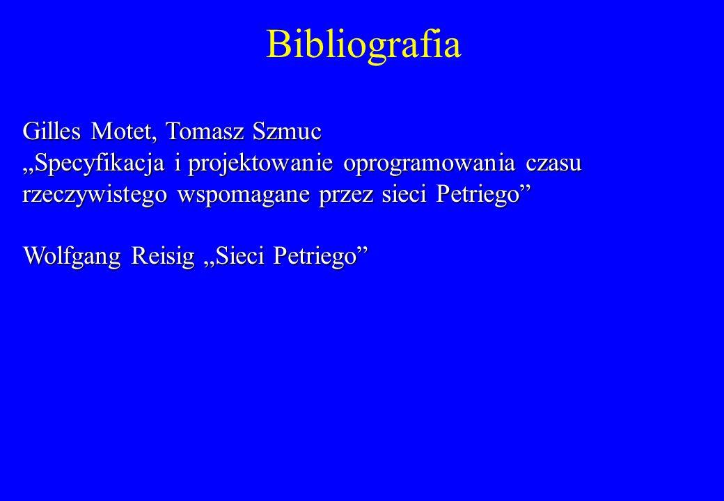 Bibliografia Gilles Motet, Tomasz Szmuc Specyfikacja i projektowanie oprogramowania czasu rzeczywistego wspomagane przez sieci Petriego Wolfgang Reisi