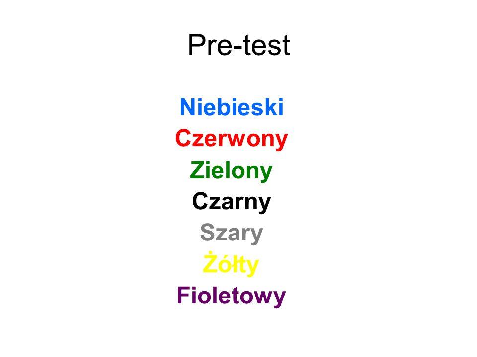 Niebieski Czerwony Zielony Czarny Szary Żółty Fioletowy Pre-test