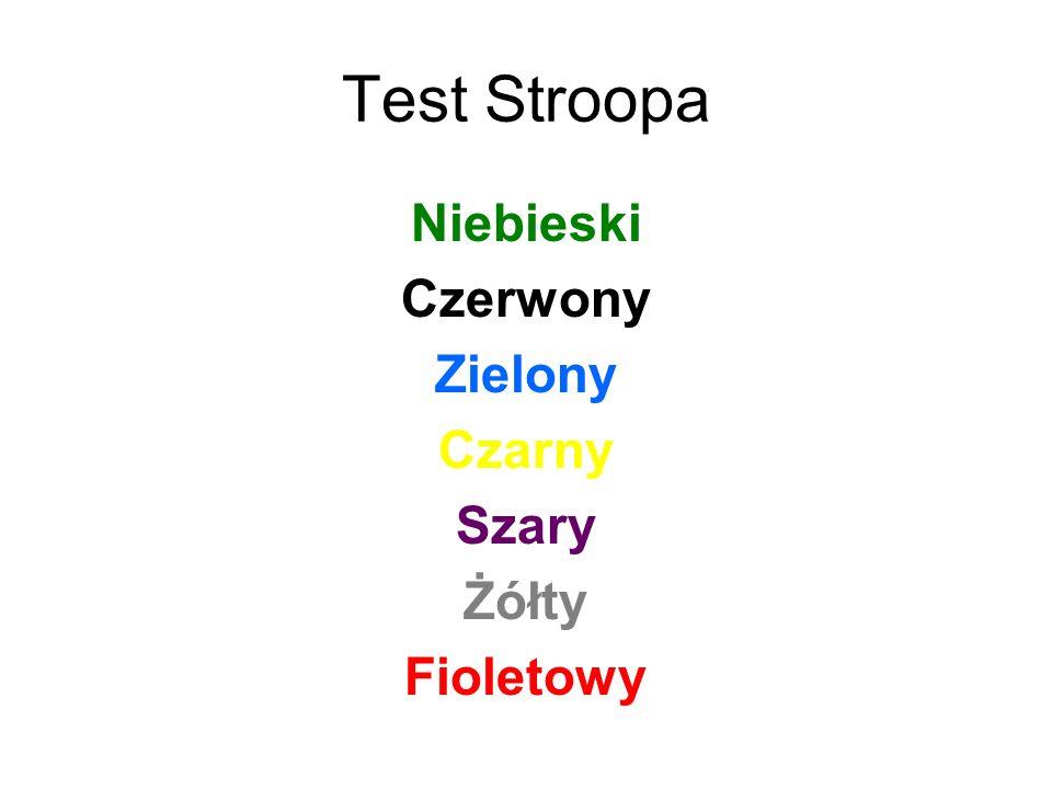 Test Stroopa Niebieski Czerwony Zielony Czarny Szary Żółty Fioletowy