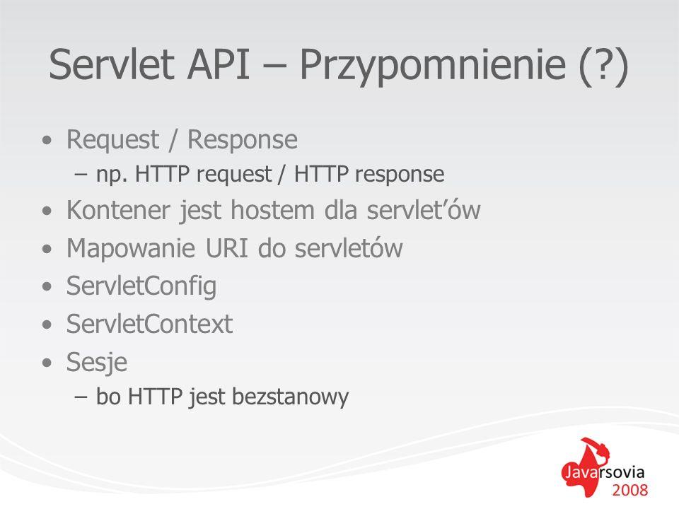 Servlet API – Przypomnienie (?) Request / Response –np. HTTP request / HTTP response Kontener jest hostem dla servletów Mapowanie URI do servletów Ser