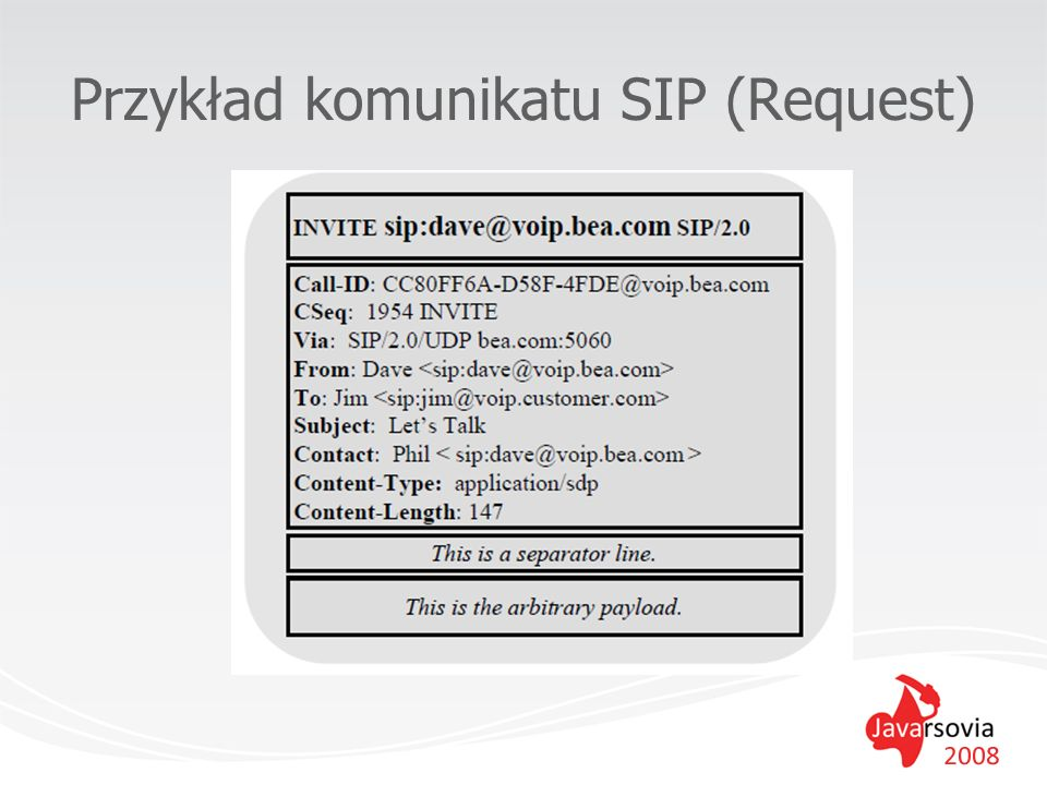 SIP Servlet API JSR-116 –2003 r.wkrótce uaktualnienie JSR-289, m.in.