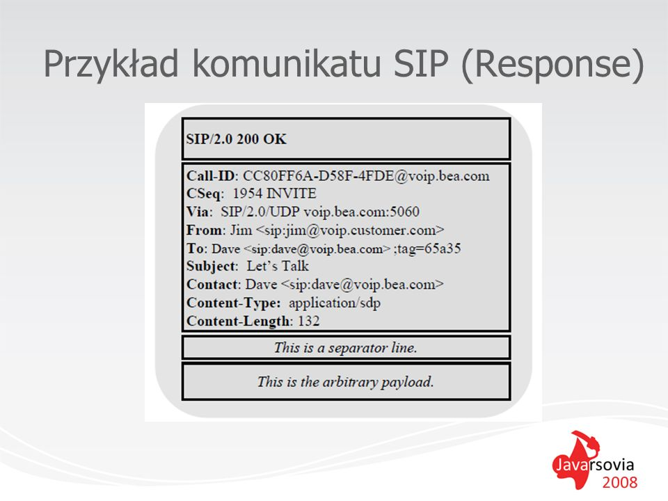 Przydatne narzędzia IDE SIP app server (z kontenerem SIP Servlet) –BEA WebLogic SIP Server –IBM WebSphere 6.x takża ma prosty kontener SIP Servlet –Glassfish – projekt SailFin – wciąż w fazie beta/alpha –...