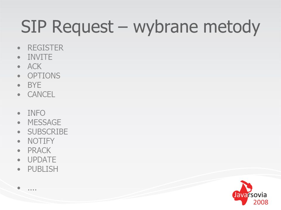 SIP Request – wybrane metody REGISTER INVITE ACK OPTIONS BYE CANCEL INFO MESSAGE SUBSCRIBE NOTIFY PRACK UPDATE PUBLISH....