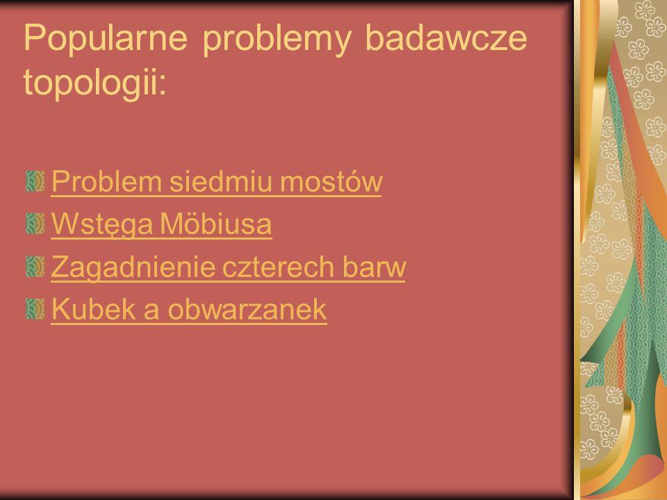 Popularne problemy badawcze topologii: Problem siedmiu mostów Wstęga Möbiusa Zagadnienie czterech barw Kubek a obwarzanek