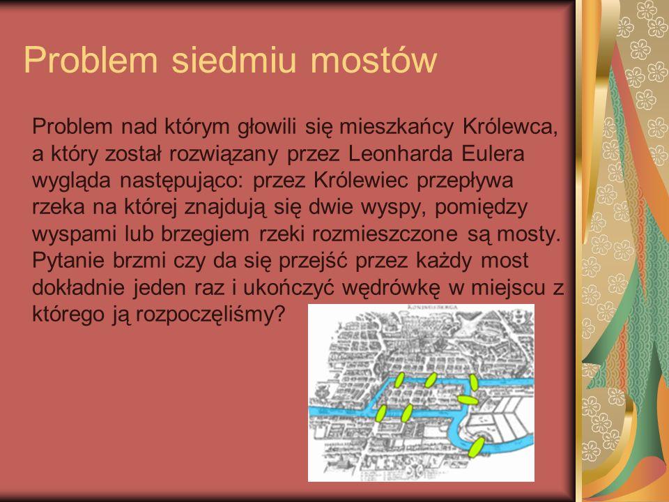Problem siedmiu mostów Problem nad którym głowili się mieszkańcy Królewca, a który został rozwiązany przez Leonharda Eulera wygląda następująco: przez
