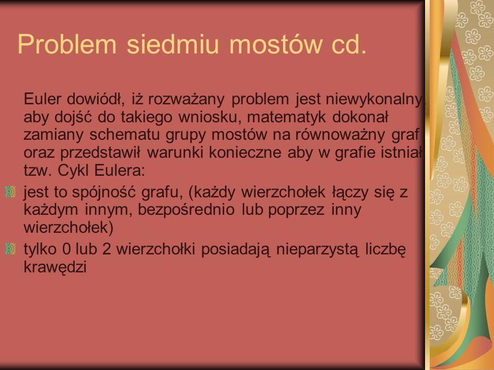Problem siedmiu mostów cd. Euler dowiódł, iż rozważany problem jest niewykonalny, aby dojść do takiego wniosku, matematyk dokonał zamiany schematu gru
