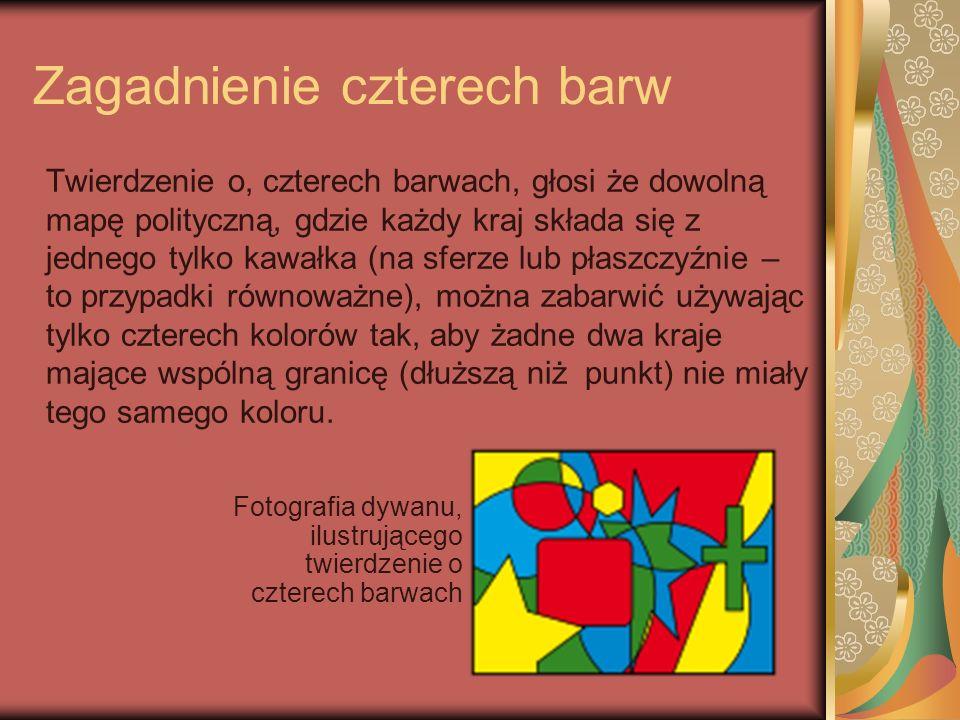 Zagadnienie czterech barw Twierdzenie o, czterech barwach, głosi że dowolną mapę polityczną, gdzie każdy kraj składa się z jednego tylko kawałka (na s