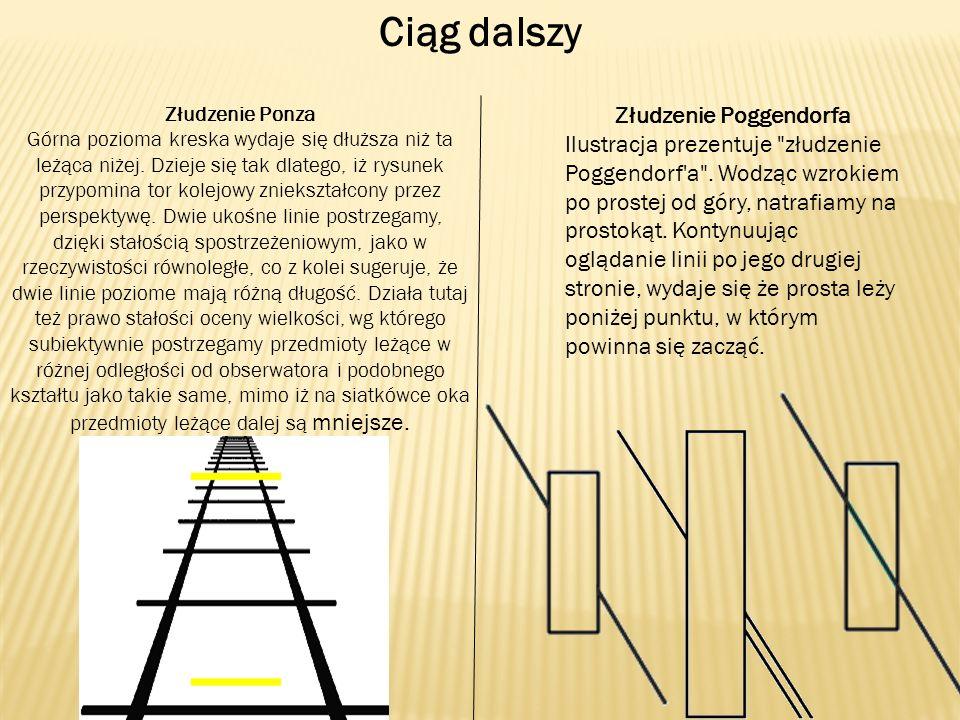 Ciąg dalszy Złudzenie Ponza Górna pozioma kreska wydaje się dłuższa niż ta leżąca niżej. Dzieje się tak dlatego, iż rysunek przypomina tor kolejowy zn